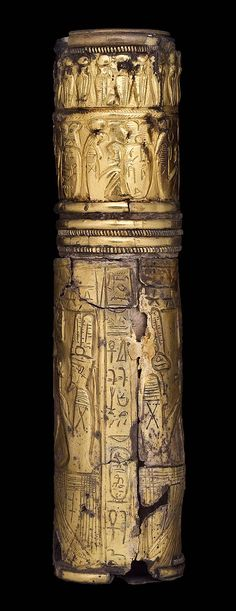 Gilt silver cylinder sheath. Nubia. Napatan Period. Reign of Malonaquen. 555-542 B.C. | The Museum of Fine Arts, Boston