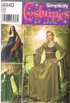 Renaissance Medieval Dress Lord of the Rings Costume Pattern Size 10 12 14 16 18 #Simplicity
