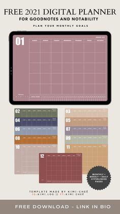 Weekly Planner Template, Free Planner, Blog Planner, Printable Planner, Project Planner, College Planner, School Planner, Study Planner, Good Notes