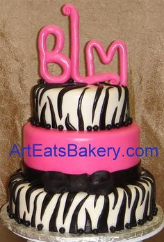 Graduation Layer Cakes for Girls | ... design idea zebra design birthday cake with monogram topper picture