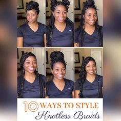 Here are some simple ways you can style your knotless box braids! Watch me do KNOTLESS BOX BRAIDS on myself for the FIRST time. Box Braids Updo, Natural Hair Braids, Braids With Curls, Box Braids Styling, Braids For Black Hair, Natural Hair Styles, Box Braid Hair, Side Braids, Twist Braids