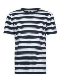 White and Navy Stripe T-Shirt - T-shirts & Tanks - Clothing - TOPMAN USA