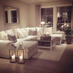 Cozy Living Room Ideas - My perfect cosy living room! Someone please buy me a sofa just like this :-). but maybe in a more grey shade- I cannot be trusted with this much white Cozy Living Rooms, New Living Room, Apartment Living, Home And Living, Grey Couches Living Room, Living Room Candles, Beige Living Rooms, Cozy House, Living Room Designs