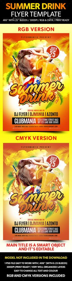 Summer Drink Flyer Template  - Clubs & Parties Events