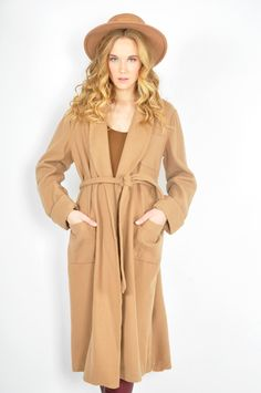 Camel belted wool trench @thriftwares