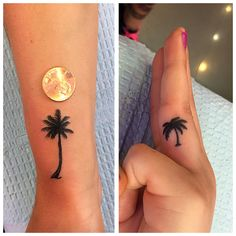 Small palmtree palm tree tattoos on finger and wrist, palm tree silhouette tattoo, tiny small simple palm tree tattoo done by Jenny Forth in Miami Beach
