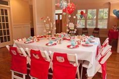 cute red aqua & white birthday party