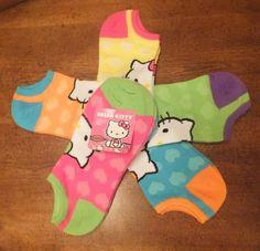 New Hello Kitty Hearts Set of 5 Pair No Show Womens Socks Size 9 11 Brights | eBay