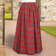 The Highlands come alive in these full cut, floor length Scottish Plaid Skirts. Made of a soft, cotton blend plaids, they offer a flat front waistband with an elastic back for a sure fit. Available in Green & Blue or Red & Black. S/M or L/XL. Looks great with our Squire's Cap, Colleen Bodice and Faire Blouse or Mary Read pirate shirt.