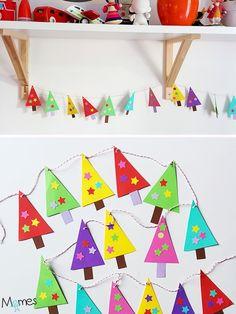 Cette guirlande en papier est une activité de Noël idéale pour les plus petites mains, cest à dire les enfants de maternelle. Des formes et des techniques simples pour un adorable résultat qui décorera la maison ou la classe à Noël !