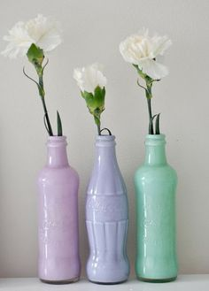 DIY: Coca-Cola bottle + paint = vases i knew my urges to save glass bottles would come in handy for something Bottle Vase, Bottles And Jars, Soda Bottles, Diy Bottle, Beer Bottles, Mason Jars, Diy Projects To Try, Craft Projects, Painted Vases