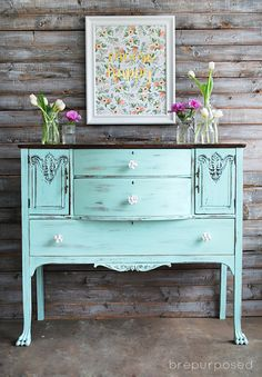 Chalky Finish Mint and Floral Buffet with DecoArt paint in Refreshing - brepurposed