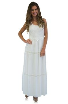 WHITE MAXI DRESS WITH LACE BODICE #ustrendy ustrendy.com