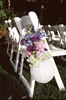 Wedding, Flowers, Pink, Blue, Purple, Outdoor, Aisle, Chair-cute, but can we do a container more related to our theme?