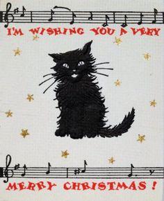 vintage black cat Christmas card