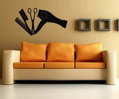 Decal Hair Salon Supply Sign Symbol Fan Brash Room Wall Vinyl Sticker Decal Art Decor 1383