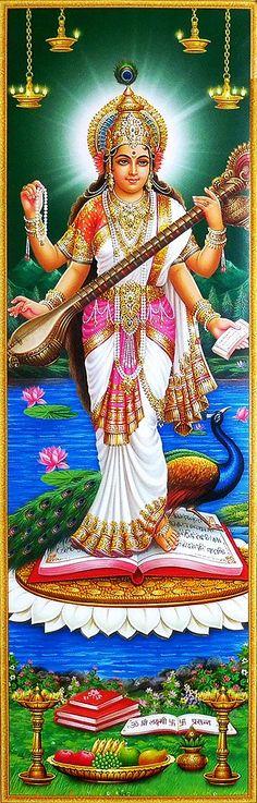 Goddess Saraswati - Hindu Posters (Reprint on Paper - Unframed) Shiva Hindu, Hindu Deities, Krishna Art, Hinduism, Saraswati Photo, Saraswati Goddess, Quilling Letters, Divine Goddess, Lakshmi Images