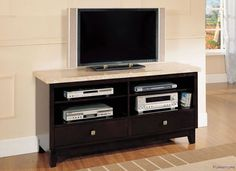 Acme Furniture - Britney TV Stand in White Marble & Walnut - 17093