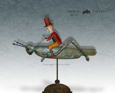 "Elf Riding Grasshopper Weathervane - 36""L Redwood. by Jay Miles"