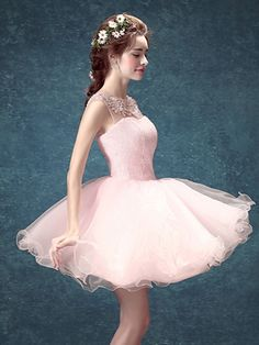 Pink Sequin Crystal Sheer Crochet Open Back Tulle Homecoming Dress | Choies