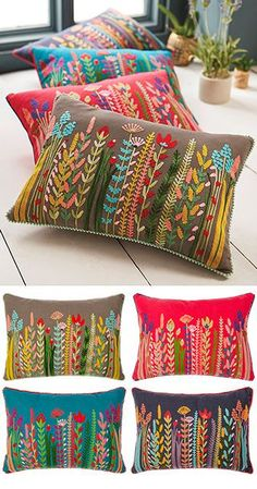 Cushion Embroidery, Floral Embroidery Patterns, Embroidered Cushions, Hand Embroidery Designs, Diy Embroidery, Embroidery Stitches, Floral Cushions, Decorative Cushions, Diy Pillows