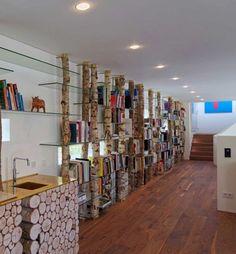 Wood And Glass Bookshelf