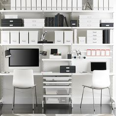 White elfa décor freestanding Home Office. Freestanding, no holes in the walls. Container Store.