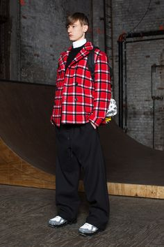 Marc by Marc Jacobs | Fall 2014 Menswear Collection |  this coat designed for young consumer. it mixes sport and casual style using red colour to highlight the pants.
