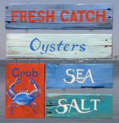 Colorful painted signs collection about seafood - for the kitchen perhaps?