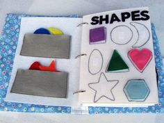 SHAPES felt quiet book page One page with velcro shapes to match to corresponding spot Great for keeping a toddler entertained quietly. Made