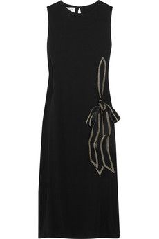 Bow-front crepe-jersey dress