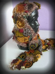 Freeform Crochet Hooded Scarf via Saffron Yellow