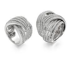 """Entrelacs"" Duet Rings - Grey gold, diamonds"