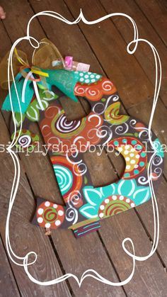 Beautiful Fall Initial Wood Door Hanger By SimplyShabbyByBella
