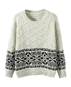 Rhombus-patterned Jacquard Loose Sweater | BlackFive