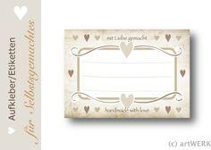 """200+Etiketten+""""mit+Liebe+gemacht""""+shabby-vintage+von+artWERK-Shop+auf+DaWanda.com"""