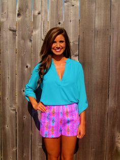 Pink Aztec Print Shorts