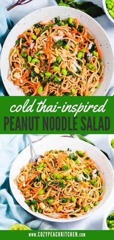 This cold peanut noodle salad has a flavorful peanut sauce and is made using healthy vegan ingredients. Vegetarian Comfort Food, Easy Vegetarian Dinner, Healthy Meal Prep, Healthy Lunches, Salad Works, Veggie Spring Rolls, Noodle Salad, Peanut Sauce, Everything