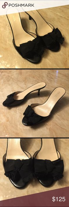 Prada Taffetas Black Patent Leather Grosgrain Prada Taffetas Black Patent Leather Grosgrain Bow Sandals Heels. Authentic, classic design. Gently worn. No abnormal damage. True to size. No box. Kitten heel is back !!! Don't miss out. Prada Shoes Mules & Clogs