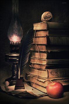Met deze afbeelding van boeken verwijs ik naar de vader van John die zijn zeldzame boeken verkocht om de studie's van John te kunnen betalen.