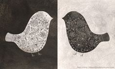 Black and White Floral Birds by flora chang | HappyDoodleLand.etsy.com