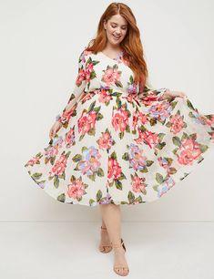 78d8a103727d Beauticurve Floral Pleated Midi Dress   Lane Bryant Pleated Midi Dress, Floral  Midi Dress,