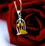 £31.00 Silver Birdcage necklace with Gold Plated details