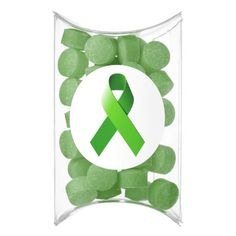 Green Awareness Ribbon Gum - Let your guests leave with a good taste in their mouth. Literally. With 15 deliciously unique gum flavors, not only will your event be the talk of the town, but your favors will be too! - Green Awareness Ribbon is a symbol of childhood depression, missing children, open records for adoptees, environmental concerns, kidney cancer, tissue/organ donation, homeopathy, and worker and driving safety