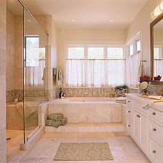 Good advice: Mix Your Neutrals - Great walk-in shower and windows. Not huge but nice bathroom. - Southern Living