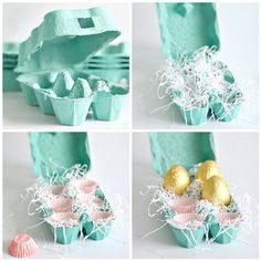 cupcake liners nestled inside pastel egg carton w/ chocolates