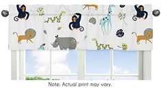Turquoise and Navy Blue Safari Animal Window Treatment Valance for Mod Jungle Collection by Sweet Jojo Designs Baby Boy Cribs, Baby Crib Bedding Sets, Girl Cribs, White Faux Wood Blinds, Crib Sets For Boys, Wood Valance, Elephant Bedding, Orac Decor, Valance Window Treatments