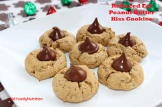 Reduced Fat Peanut Butter Kiss cookies!  A perfect healthier cookie recipe with nearly half of the fat, but still full of flavor.