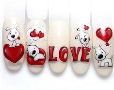 Rose Nail Art, Rose Nails, Heart Nails, Trendy Nail Art, Stylish Nails, Holiday Nails, Christmas Nails, Valentine Nail Art, Nail Art Designs Videos