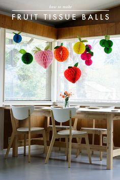 DIY Fruit tissue honeycomb balls for Cinco de Mayo - The House That Lars Built